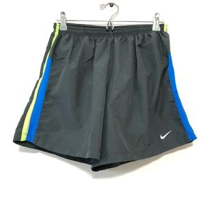 NIKE Gray Running Shorts with Green-Blue Accents